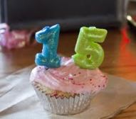 15 candles cupcake