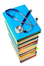 medical books and stethascope