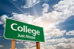 Road sign saying College Just Ahead